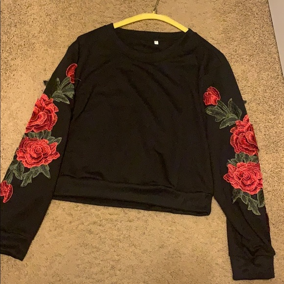 SHEIN Tops - Long sleeve top with flowers on the sleeves